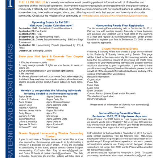 Illini Greek newsletter (Born Digital Records), 2009