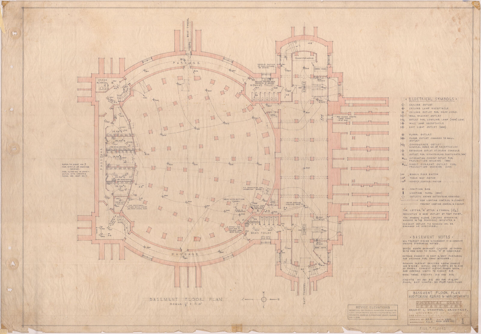 Basement Floor Plan Auditorium Repairs Improvements 1937 Electrical Wiring Diagram For Foellinger Digital Collections At The University Of Illinois Urbana Champaign