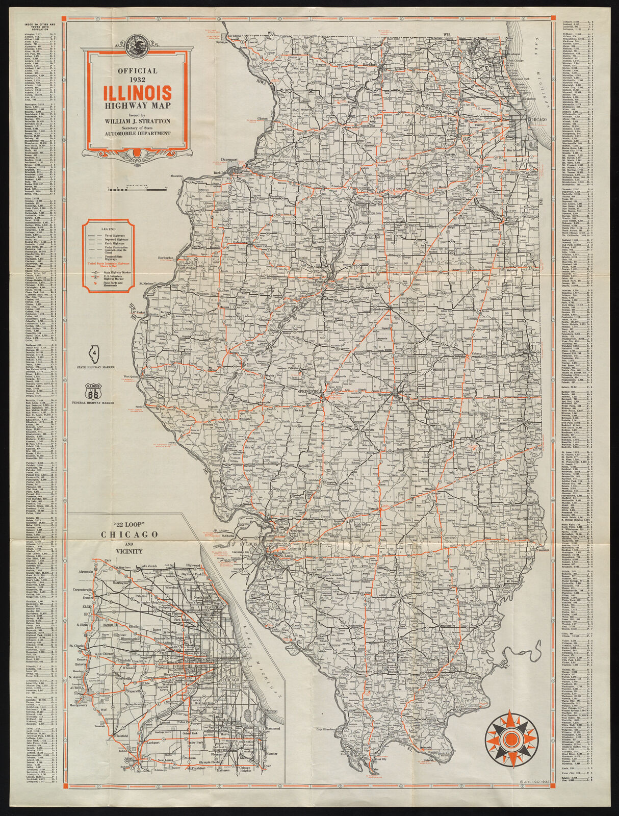 Official Illinois Highway Map, 1932 | Digital Collections at the ...